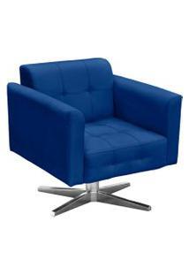 Poltrona Decorativa Elisa Suede Azul Royal Com Base Giratória Em Aço Cromado - D'Rossi