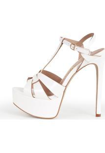 Sandália Paula Brazil Shoes Store Verniz Branco