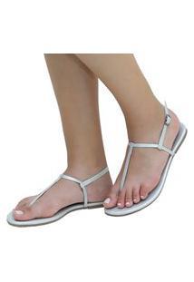Sandália Rasteira Mercedita Shoes Napa Metalizada Prata Ultra Conforto Anatômica