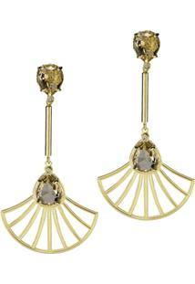 Brinco Banho De Ouro Cristal Oval Champagne E Arabesco Formato Leque - Feminino-Cinza