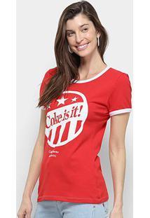 Camiseta Coca Cola Coke Is It Manga Curta Feminina - Feminino-Vermelho Escuro
