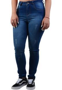 Calça Jeans Hand Loose Cetim - Marinho / 36