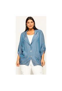 Jaqueta Gola Blazer Almaria Plus Size Garage Capuz Azul