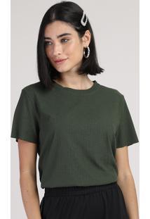 Blusa Feminina Canelada Manga Curta Decote Redondo Verde Militar