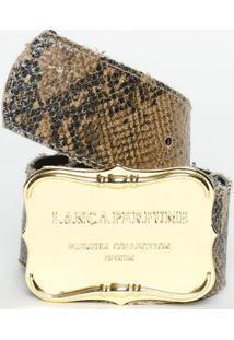 Cinto Texturizado Animal- Marrom Claro & Preto- 4X11Lança Perfume