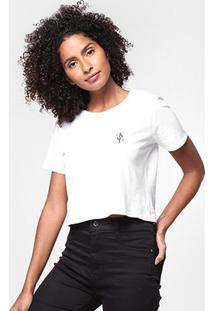 Blusa Cropped Calvin Klein Logo Mirror Feminina - Feminino-Branco