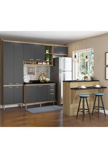 Cozinha Compacta 11 Portas 3 Gavetas Sicilia 5846 Premium Argila/Grafite - Multimóveis