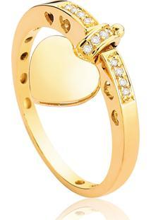 Anel De Ouro 18K De Coração Com Diamantes 5 Pt