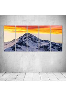 Quadro Decorativo - Sunrise At Ft Colorado Rocky Mountains - Composto De 5 Quadros