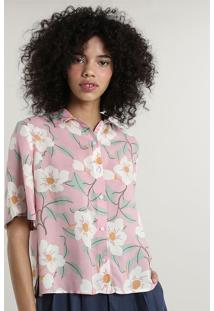 Camisa Feminina Mindset Ampla Estampada Floral Manga Curta Rosa Claro
