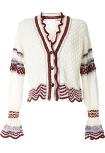 Mame Kurogouchi Cardigan Texturizado De Tricô E Lã - Branco