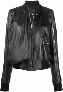 Rick Owens Long-Sleeve Leather Bomber Jacket - Preto