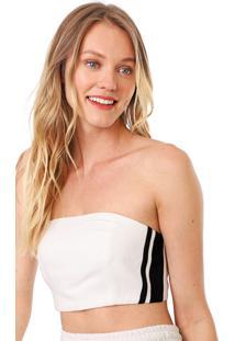 Top Tomara Que Caia Dress To Listras Laterais Off-White/Preto