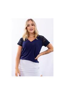 Blusa Up Side Wear Decote V Com Detalhe Em Renda Azul Marinho