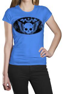 Camiseta Baby Look Hshop Caveira Vintage - Azul Turquesa