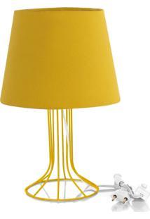Abajur Torre Dome Amarelo Mostarda Com Aramado Amarelo