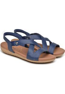 Sandália Feminina Usaflex Couro Anatômica Elástico Conforto Marrom 34 Azul