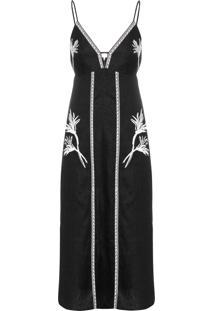 Vestido Midi Bordado - Preto