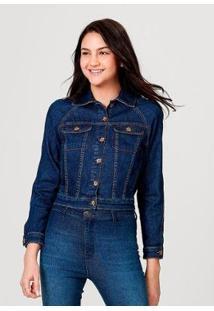Jaqueta Em Jeans De Algodão Com Bolso Hering Feminina - Feminino-Azul