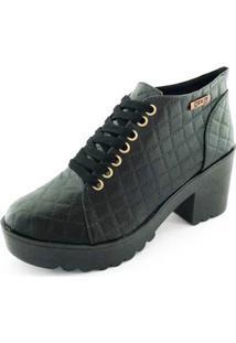 Bota Quality Shoes Matelassê Feminina - Feminino-Preto