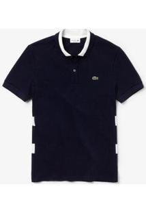 Camisa Polo Lacoste Regular Fit Com Listras Masculina - Masculino-Marinho+Branco