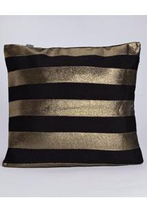 Capa Para Almofada Preto/Dourado