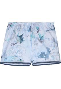 Shorts Estampado Flores Matizadas Intimissimi Algodã£O Supima Azul - Azul - Feminino - Dafiti