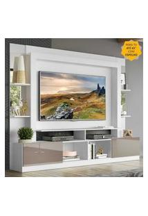 """Rack C/ Painel Tv 65"""" Prateleiras C/ Espelho Oslo Multimóveis Branco/Lacca Fumê"""