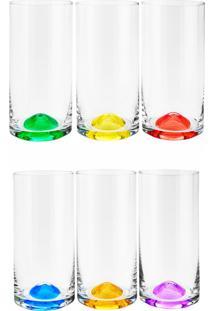 Conjunto Rojemac 6 Copos Alto De Cristal Ecológico Set-Bar Favorit Wave Colorido - Tricae
