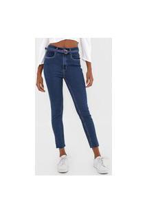 Calça Cropped Jeans Lança Perfume Skinny Lisa Azul