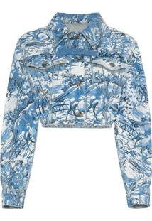 Off-White Jaqueta Jeans Estampada Cropped - Azul