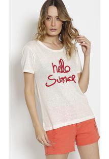 Camiseta Em Linho Com Fendas - Off White & Vermelhacanal