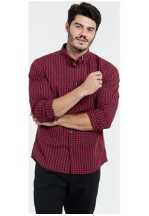 Camisa Masculina Manga Longa Estampa Xadrez Marisa
