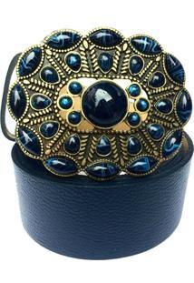 Cinto Cintos Exclusivos Fivela Azul -Marinho