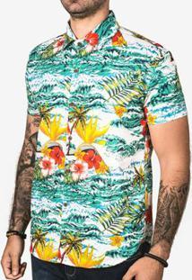 Camisa Hermoso Compadre Hawaii Masculina - Masculino-Azul