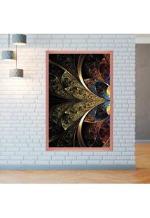 Quadro Love Decor Com Moldura Vitral Abstrato Rose Metalizado Grande