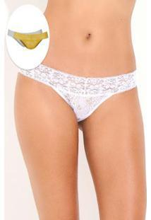b58d07c3a ... 2 Peças C/ Feminino-Amarelo+Branco - Delrio. Ir para a loja; Kit  Calcinha De Renda Blond Com Branco Bonjour