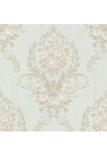 Papel De Parede Floral- Verde Claro & Rosa- 1000X52Cshark Metais