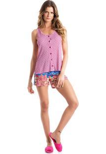 Pijama Ellen Abotoado C/ Regata - O835 Rosa/P