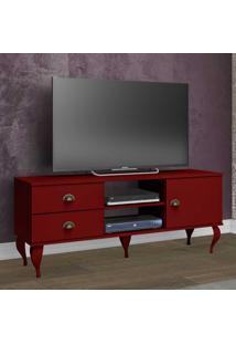 Rack Para Tv Até 40 Polegadas 2 Gavetas E 1 Portas Clássico Cl4004 Vermelho - Móvel Bento