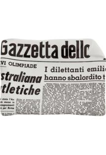 Fornasetti Bandeja Cinza Em Porcelana Modelo 'La Gazzeta Dello Sport'.