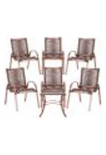 Conjunto 6 Cadeiras E Mesa De Centro Colômbia Aluminio Rose Área Jardim Varanda Corda Sintetica Tauari