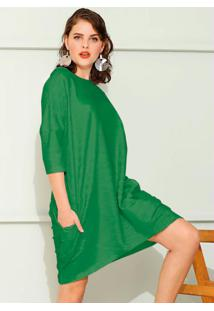 Vestido Moletom Bolsos Laterais Verde Lima