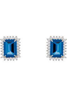 Brinco Em Ouro Branco 18K Com Diamante, Topázio London - Queen