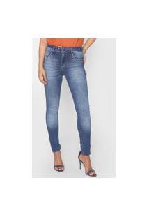 Calça Jeans Biotipo Skinny Estonada Azul-Marinho