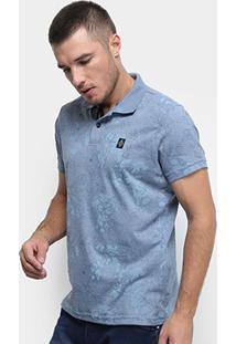 Camisa Polo Fatal Floral Masculina - Masculino-Azul