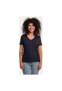 Camiseta Decote V Largo Viscolinho Preta Preto