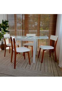 Conjunto De Mesa De Jantar Extensível Pólito Com 4 Cadeiras Tóquio Corino Mel E Branco