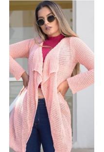Cardigan Tricot Assimétrico Rosa