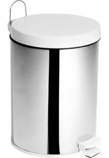 Lixeira Em Aço Inox Com Tampa Plástica Purimax 10,5 Litros Branca
